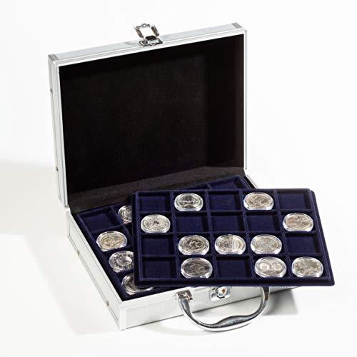 Star Collect (700043 - Cassetta portamonete con 6 tabelle per 132 monete/capsule fino a 41 mm, chiudibile, velluto nero