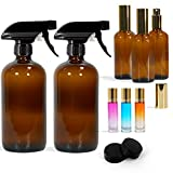 Glass Spray Bottles Set Empty Refillable Container for Essential Oils 16oz Boston Round Bottle with Funnel Lables Cleaning Products Aromatherapy Lotions Liquid Soaps