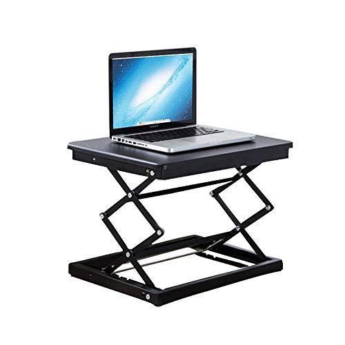 KPOON Stehpult Converter Büroarbeitsstation Multifunktionale Home Office Faltbare Computer-Schreibtisch Mobile Hebewerkbank Laptop Riser (Color : Black, Size : 50X37X10-49cm)