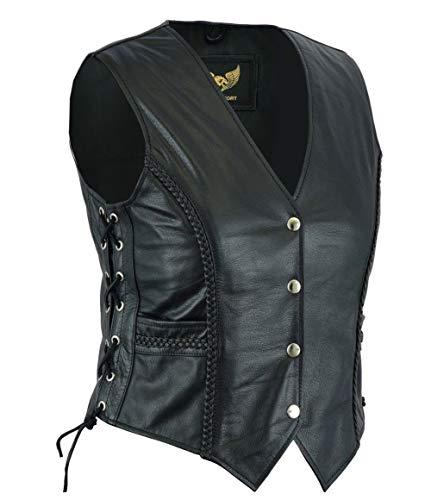 Leatherick Chaleco estilo motorista trenzado de cuero para mujer para chaqueta / chaleco sin mangas casual y de moda (2XL) (16)
