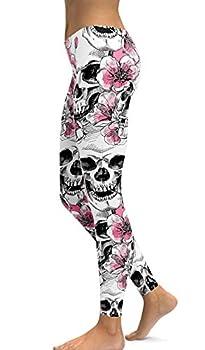 Sugar Skull Printing Stretchy Leggings Skinny Pants for Yoga & Running  Large Light Pink