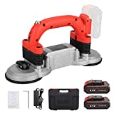 Anbull Tile Automatic Leveling Machine Hand-held Tile Tiling Machine Tile Vibrator Tiler Tile Vibrator Tool 21v Double Suction Cup Tile Tiler (6 Speed Adjustment,2pcs Lithium battery)