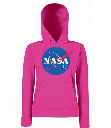 TRVPPY Sudadera con capucha para mujer modelo NASA fucsia L