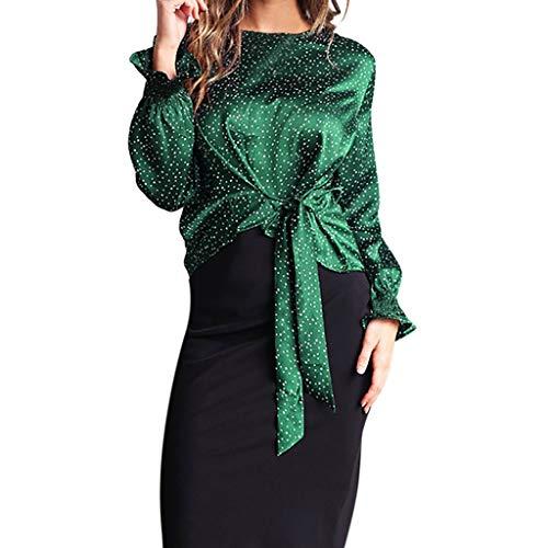 Longra dameshemd, lange mouwen, polka, puntenprint, elegant, casual, overhemd, ronde hals, overhemd, modieus, top, chique, retro, boog, onregelmatig