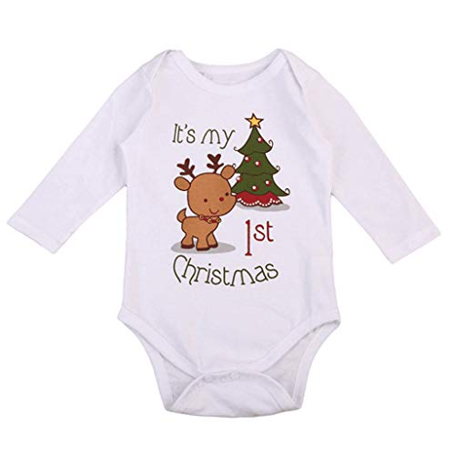 Fineday Jumpsuit for Children, Newborn Infant Baby Boys Girls Cartoon Deer Christmas Tree Romper Autumn Clothes, Boys Romper&Jumpsuit (White 0-6 Months)