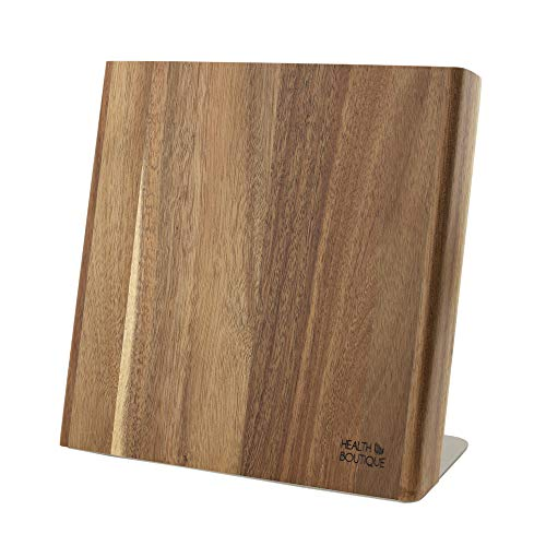 Magnetisch messenblok van acaciahout, messenhouder, magnetisch, ideaal voor het voorzichtig opbergen van hoogwaardige messen voor een opgeruimde keuken (zonder messen).