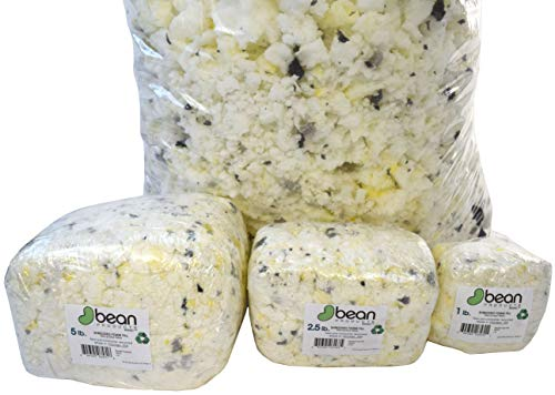 Shredded Foam Fill - 10 LBs - All New Recycled Refill for Bean Bags, Pet Beds, Pillows. Made in USA, Bean Products