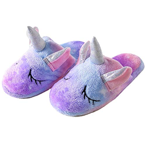 TYONMUJO Kids Unicorn Fuzzy Slippers with Anti-Slip Soles for Boys Girls Lavender C20