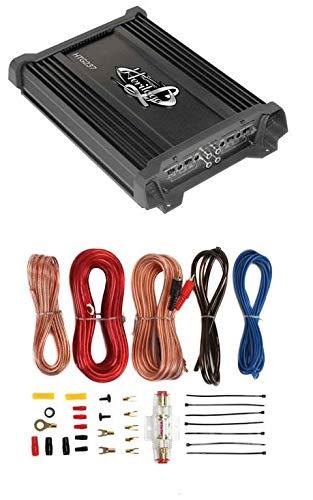 LANZAR HTG237 1000W 2 Channel Car Digital Power Amplifier + 8 Gauge Amp Kit