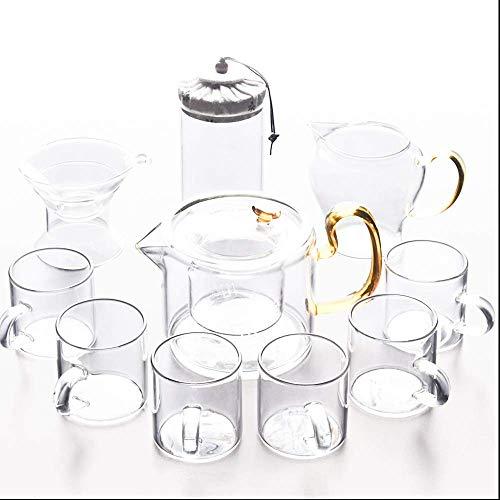 Xingyu Tee-Set, hitzebeständig, 6 Teetassen, Teesieb, Teekanne, japanischer Stil, transparent, 10 Stück, farblos, 10 Stück