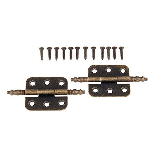 Dophee 4Pcs 35x70mm bronzo antico ferro corona testa 6 fori cerniere per vintage scatola di legno cassetta degli attrezzi armadio