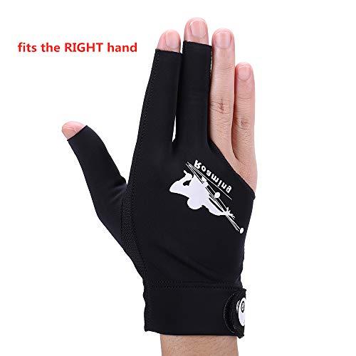 Roaming Schnell trocknende atmungsaktive Billard-Shooter Carom Pool Snooker Queue Sport Handschuh passt auf die linke Hand, Schwarze rechte Hand, S/M