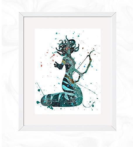 Medusa the Gorgon Prints, Greek Mythology Watercolor, Nursery Wall Poster, Holiday Gift, Kids and Children Artworks, Digital Illustration Art