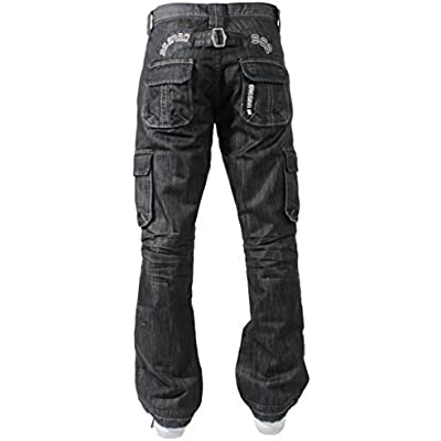 Enzo Mens Cargo Combat Trousers Blue Jeans Designer Denim Big King Size Pants