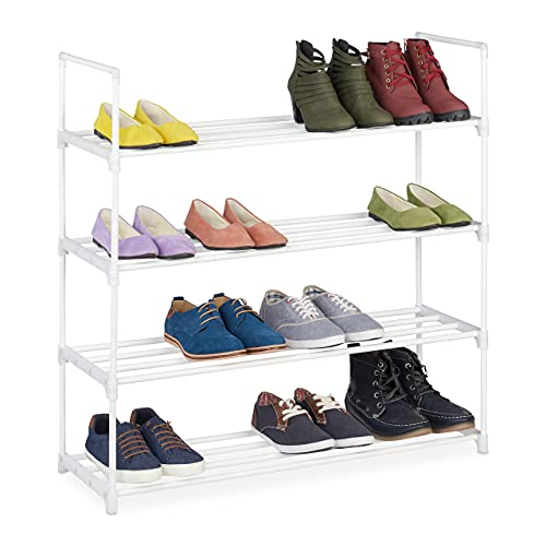 Relaxdays Niveles, Sistema de Enganche, 16 Pares de Zapatos, Ampliable, Metal y plástico, Zapatero, Color Blanco, 4 Ebenen