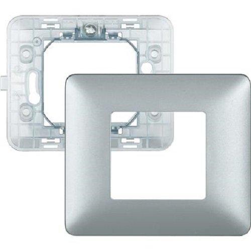 BTicino SAM4802MSL Matix Kit, Supporto e Placca a 2 Moduli, Silver