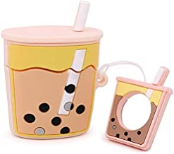 Senhomtog Case Compatible with Airpods Cute Case Cover Pearl Milk Tea Airpods Music Tracker Cover Soft Silicone Cute Case Cover Airpods Accessories Airpods Bubble Tea Headphone Protection(Pink)