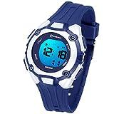 orologio digitale per bambini ragazze-7 colori luce sport all'aria aperta orologio da polso multifunzione impermeabile con sveglia/timer/doppio fuso orario/cinturino in gomma morbida (blu 2)