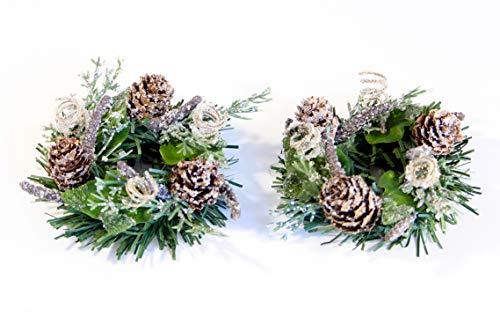 swerox - Juego de 2 Anillos de Navidad para Vela, diseño de Conos de piña, Color Verde