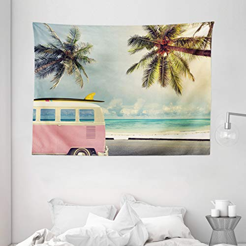 """Ambesonne Surf Tapestry, Minivan The Beach Retro Inspired Vacation Clouds in Summer Sky Honeymoon Destination, Wide Wall Hanging for Bedroom Living Room Dorm, 80"""" X 60"""", Blue Blush"""