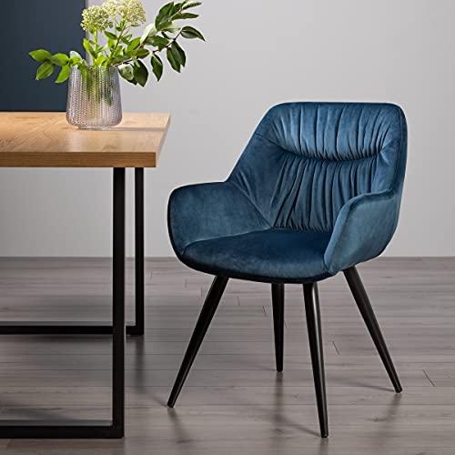 Home Origins Dali - Par de sillas de tela de terciopelo azul petróleo con patas recubiertas de polvo negro arena