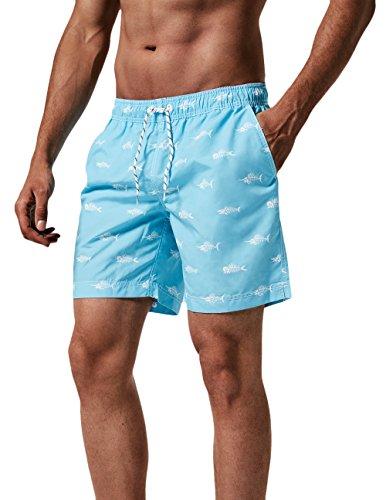 MaaMgic Trajes de Baño para Hombres Bañador para Vacaciones en la Playa Secado Rápido Piscina Nadar Azul Cresta L