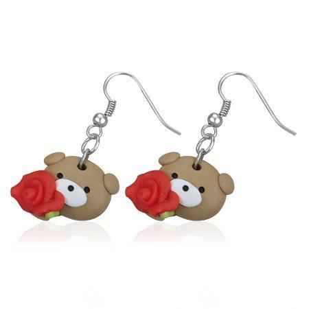 Boucles d'oreilles style manga petit ourson avec une rose rouge