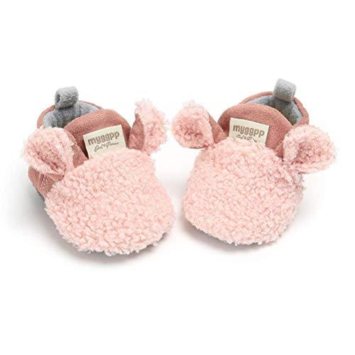 TMEOG Unisex-Baby Neugeborenes Fleece Booties Bio Baumwoll-Futter und rutschfeste Greifer Winterschuhe (0-6 Monate, E_Pink)