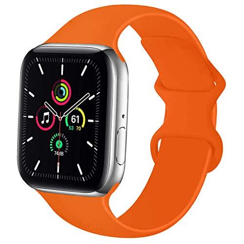 Lerxiuer Smartwatch Correa 38mm 40mm 42mm 44mm Silicona Suave Reemplazo Banda Compatible con Apple Watch Serie 6/Serie 5/Serie 4/Serie 3/SE Strap,42mm/44mm-M/L Naranja
