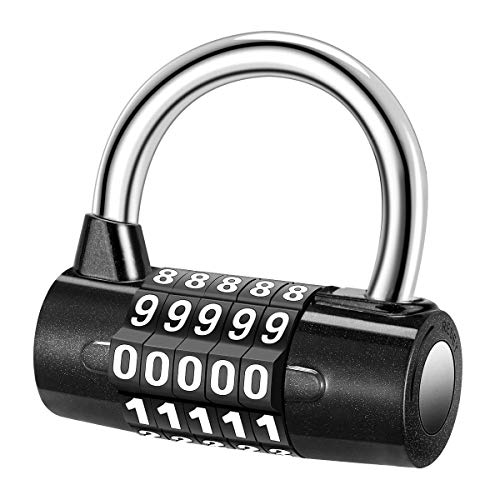 Laelr 5 Digital Combination Lock Security Padlock Combination Resettable Locks Zinc Alloy Material Waterproof Number Lock for Gym School Office Home or Outdoor Shed
