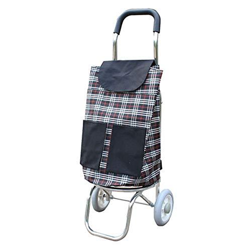 WPCBAA Multifunctional aluminum alloy shopping cart foldable bag trolley car buy food hand luggage cart (Color : A)