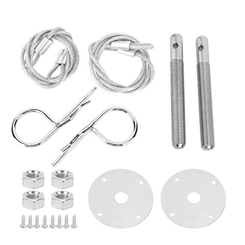 Hood Pin Plate Lock, Stainless Steel Engine Hood Pin Plate Bonnet Lock Clip Kit Car Modified Accessory