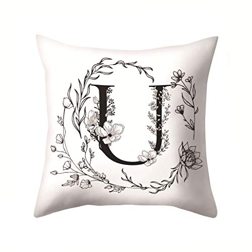 Watopi Letters Pattern Pillow Case Sofa Car Cushion Cover Throw Pillow Home Decoration