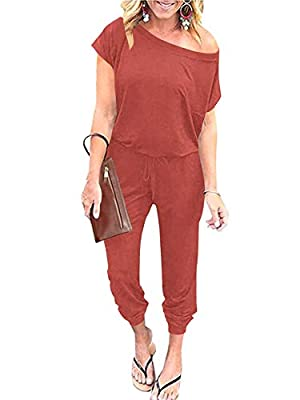 ANRABESS Women's Casual Short Sleeve Jumpsuit Crewneck Off Shoulder Elastic Waist Stretchy Romper with Pockets A203zhuanhong-M by