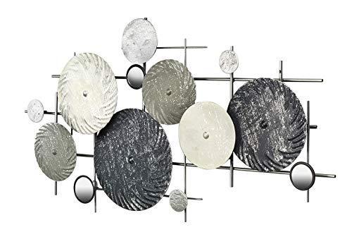 Kobolo Wandbild Wanddekoration Metallbild - DISC - mit Spiegeln - Silber grau - 90x50 cm