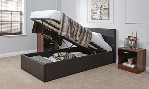 SINGLE FAUX LEATHER OTTOMAN STORAGE GAS LIFT BED - BROWN