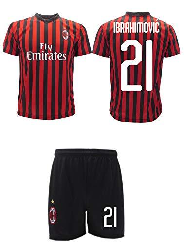Completo Ibrahimovic Milan Ufficiale 2021 2020 AC Adulto Bambino Ibra Zlatan 21 Maglia + Pantaloncini Ufficiali (M Adulto)