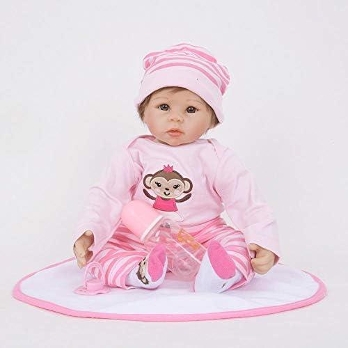 Hongge Reborn Baby Doll,Lebensechte Silikon Wiedergeburt Puppe Kind Wachstum Partner Reborn Puppe Spielzeug 55cm
