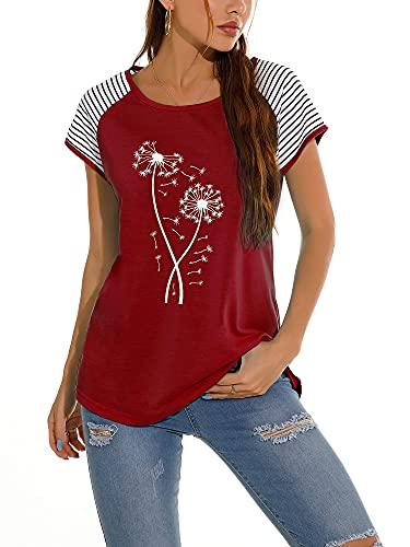 Camiseta básica de verano con cuello redondo y manga raglán