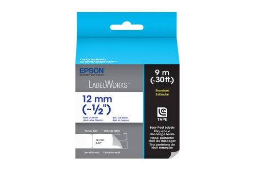 Epson LabelWorks Standard LC Tape Cartridge ~1/2-Inch Blue on White (LC-4WLN9)