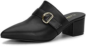 Allegra K Women's Pointed Toe Slip on Block Heel Sandals Mules