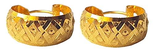 Sólido puro de 18 quilates 18 quilates amarillo oro fino abstracta del diseño del aro en altura el 1.4CM Anchura-el 1.4CM para las mujeres, las niñas, niños, para hombre Bali