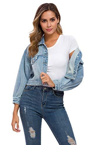 Women's Loose Jean Jacket Casual Long Sleeve Denim Classic Jacket Coats (Blue, Medium)