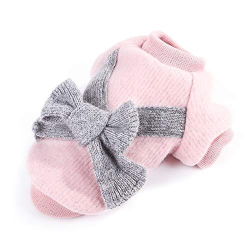 Luxus Nette Hundekleidung Verdicken Warmer Haustier-Hunde-Bekleidung Bogen Pullover Baumwolle Winter-Weiche for Small Medium Hunde Mantel XS-2XL (Color : Pink, Size : XL.)