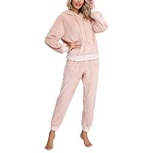 Pijama Mujer Invierno Ropa para Casa Forro Polar Conjunto de Pijama 2 Piezas para Mujer Sudadera de Felpa + Pantalones Largos Color Sólido (Rosa, S)