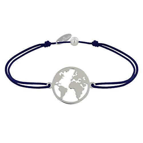 Schmuck Les Poulettes - Armband Link Silber Runde Medaille Weltkarte - Blau Navy