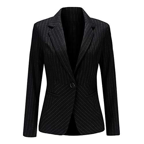 YYNUDA - Blazer da donna, a maniche lunghe, con un bottone, stile vintage, giacca a righe Nero S