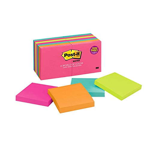 Post-it Notes, 3x3 in, 14 Pads, America's #1 Favorite Sticky Notes, Cape Town Collection, Bright Colors (Magenta, Pink, Blue, Green), Clean Removal, Recyclable (654-14AN)