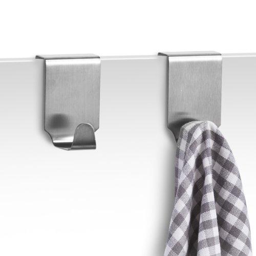 Zeller 24856 Handtuchhaken für Schranktür, 2er-Set, Edelstahl, L 4 x B 5 x H 6 cm