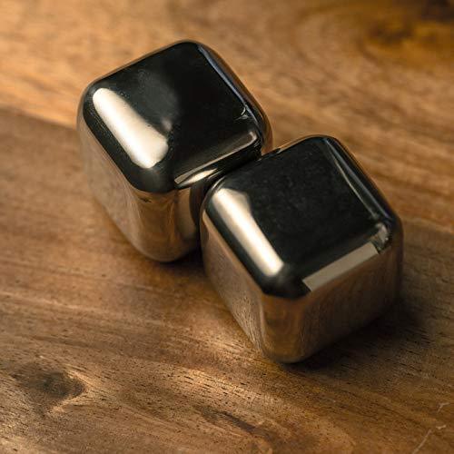 KOBERT GOODS - 4 Whisky-Steine in Farbe Edelstahl Eckig - wiederverwendbare Kühlsteine aus echtem Speckstein od. gebürstetem Edelstahl - Eiswürfelersatz (eckig/ oval) für perfekte Kühlung ohne Verwässerung - mit Stoffbeutel - 5